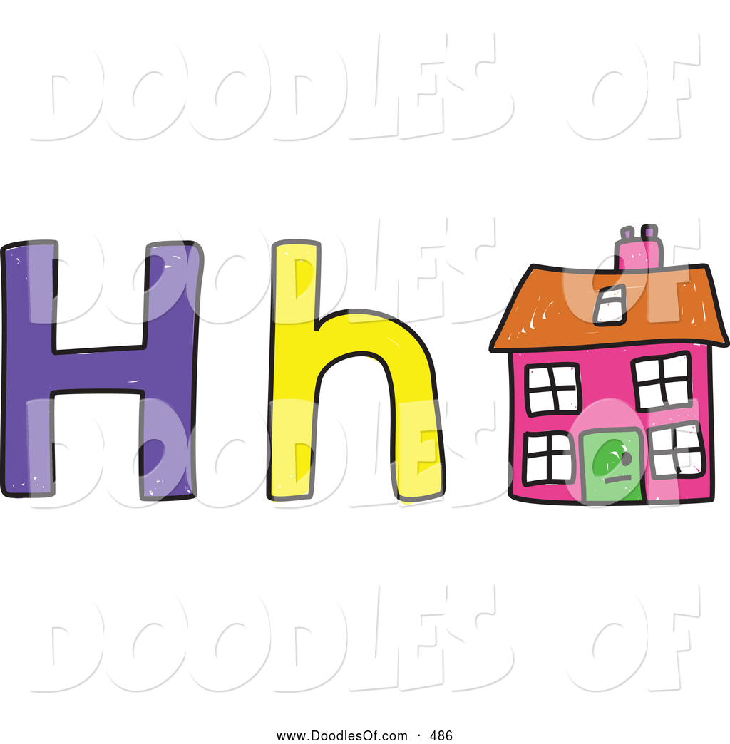 Vector Clipart Of A Capital And Lowercase Letter H With Childs Coloring House