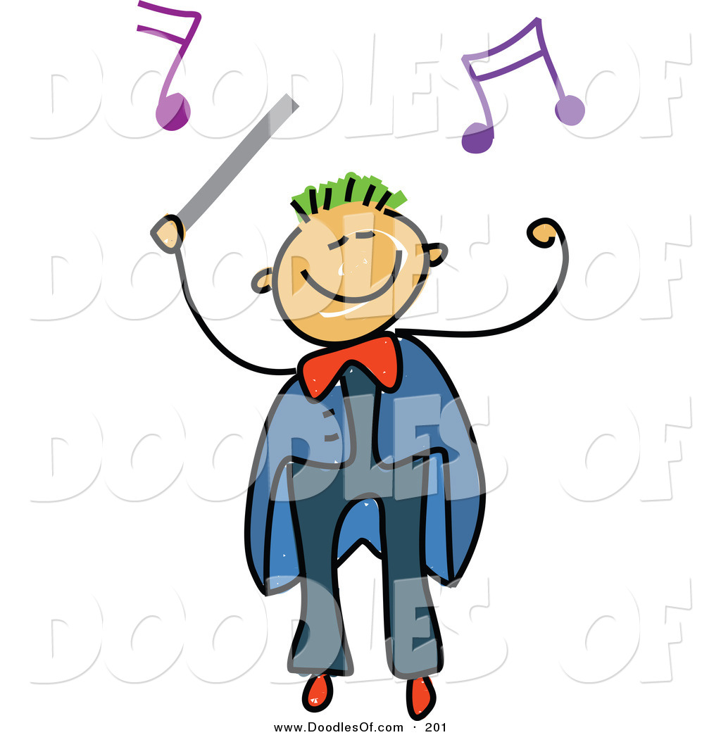 Vector clipart of a childs sketch of a boy conductor with music notes