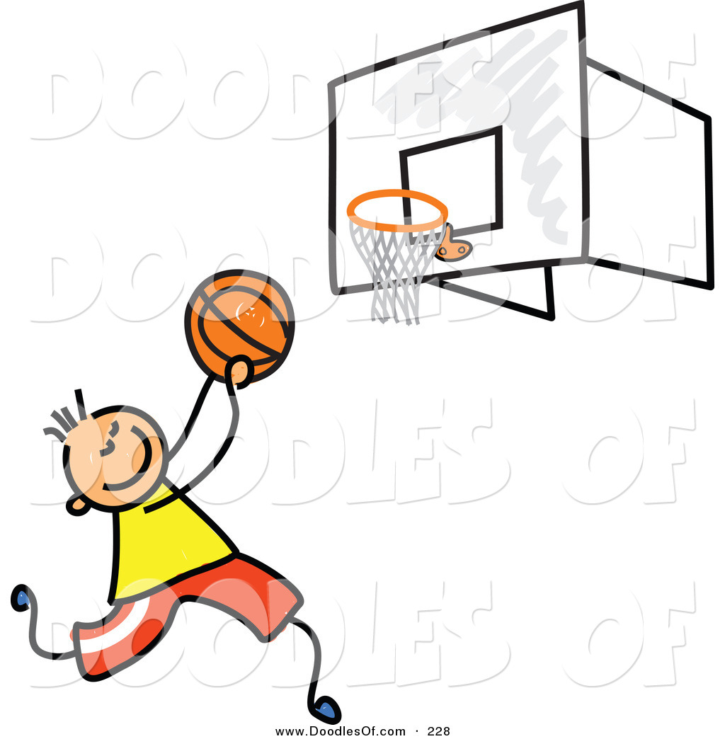 ... Clipart of a Childs Sketch of a Boy Playing Basketball on a Court