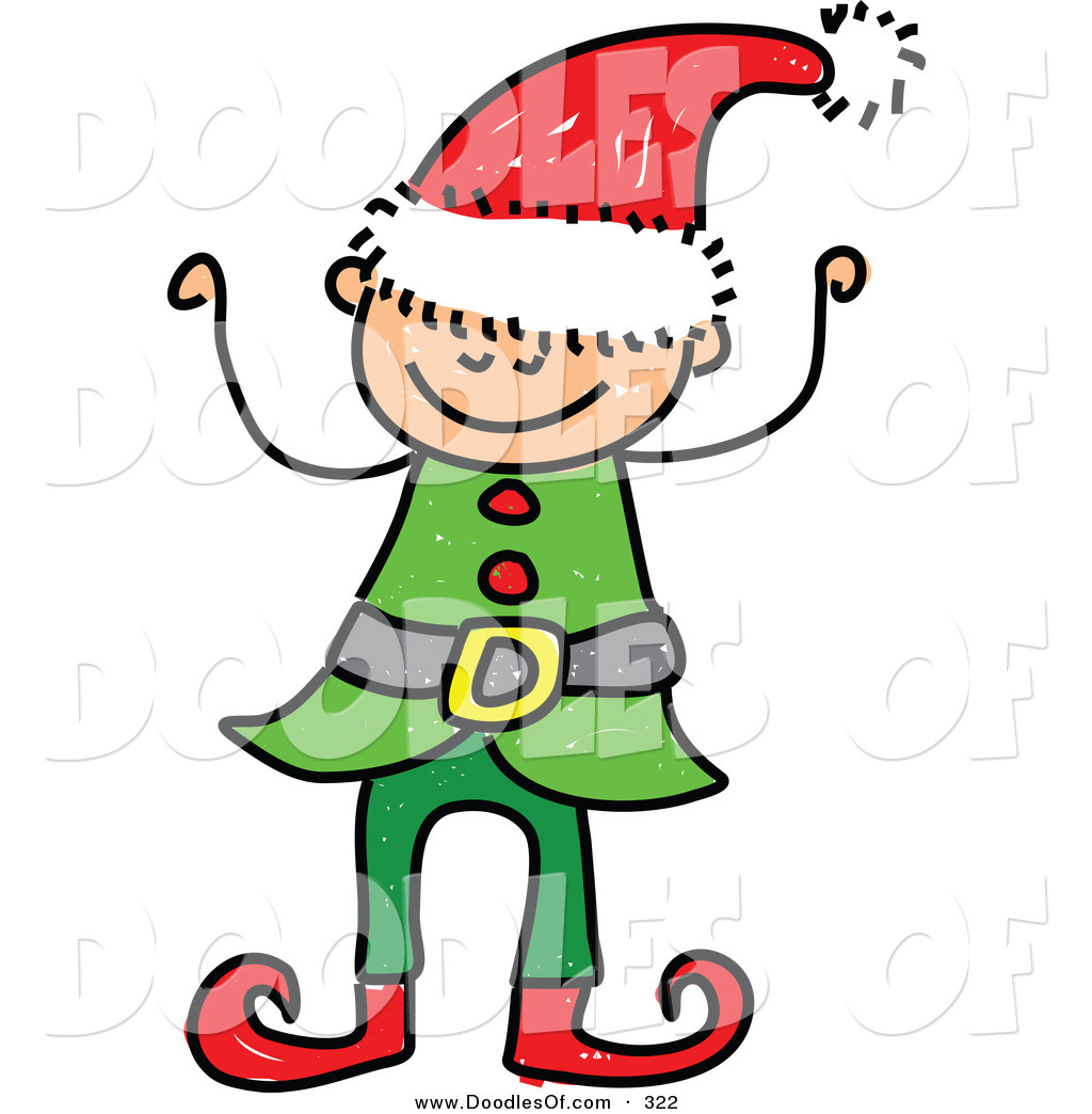 Vector Clipart of a Childs Sketch of a Happy Christmas Elf Boy by ...