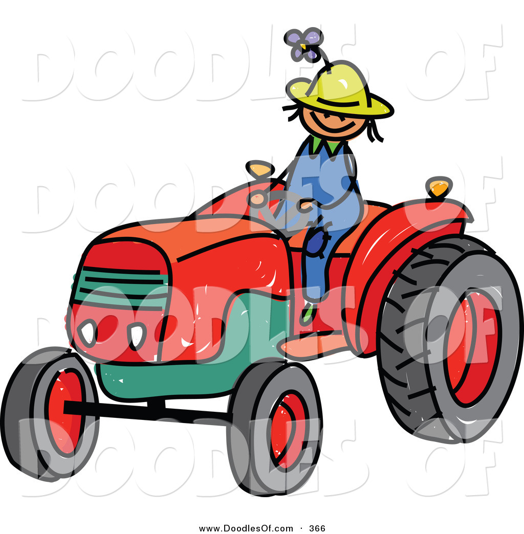 Boy On Tractor : Vector clipart of a childs sketch young farmer boy