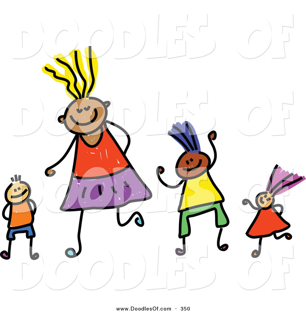 vector clipart of a childs sketch of four happy playing kids - Sketch Images For Kids