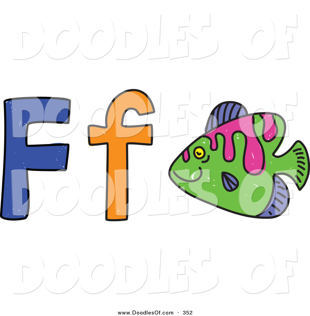 vector clipart of a childs sketch of letter f is for fish