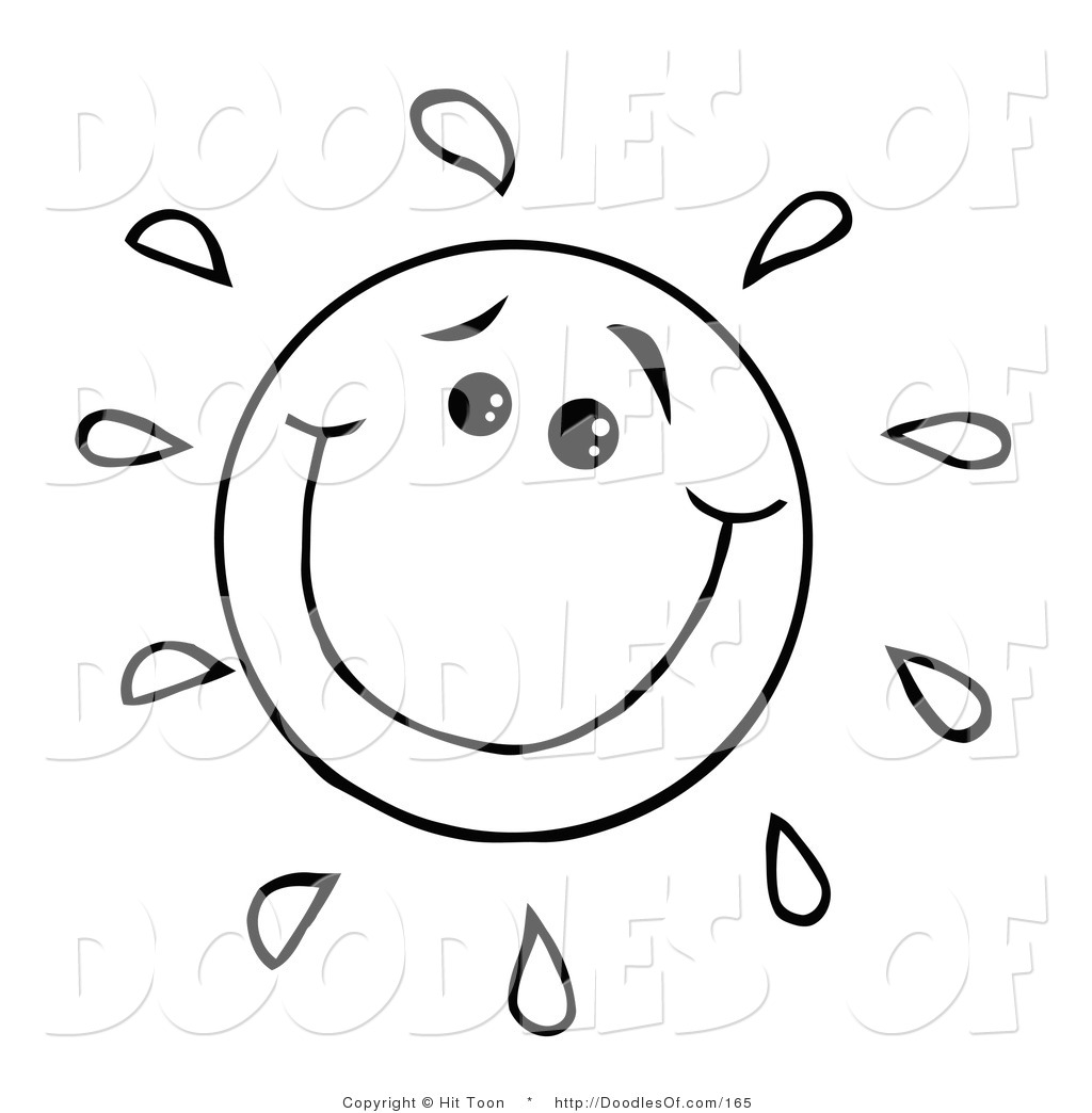 vector clipart of a coloring page of a happy doodled sun with a
