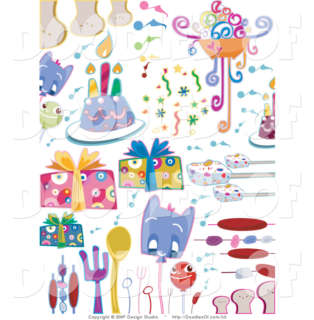 Vector Clipart Of A Digital Collage Birthday Party Doodle Items On White