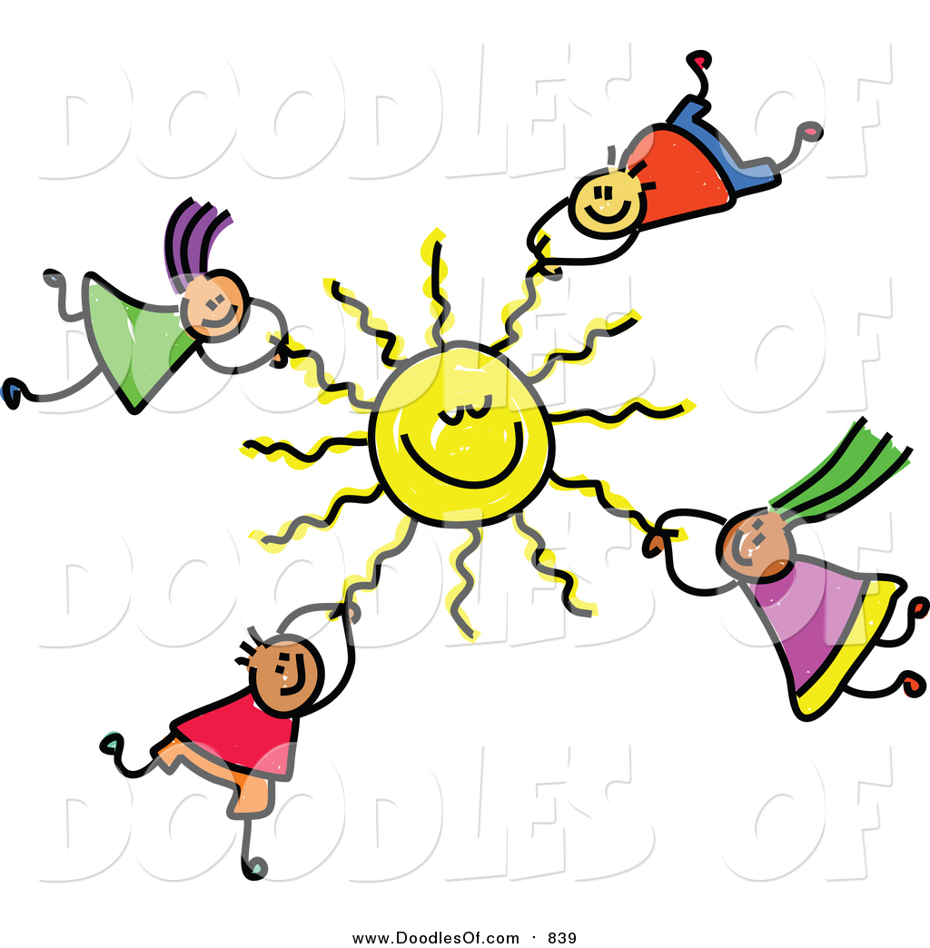 Vector Clipart of a Doodle of Kids Hanging onto a Sun by ...