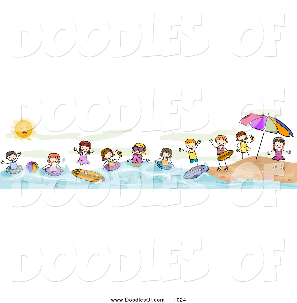 vector clipart of a doodled border of summer doodled kids