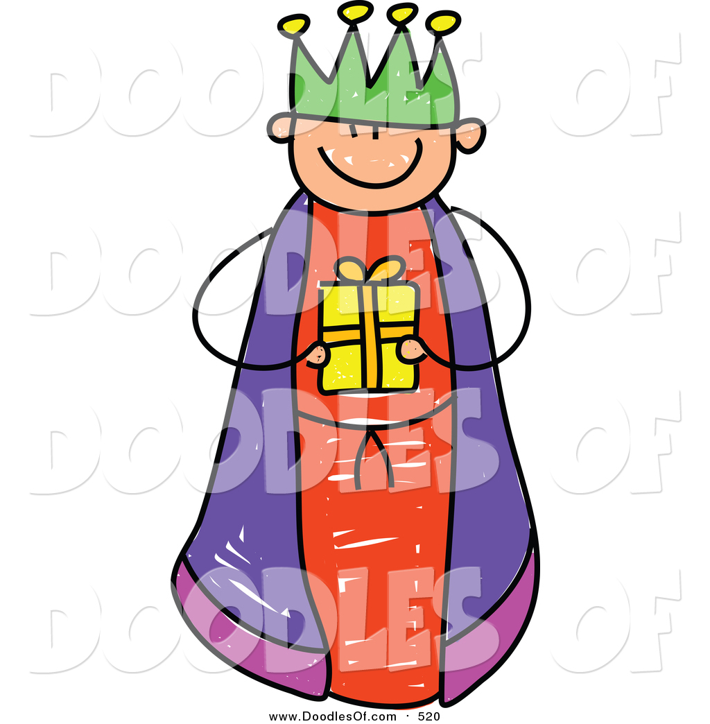 Vector Clipart of a Doodled Boy King Holding a Gift by Prawny - #520
