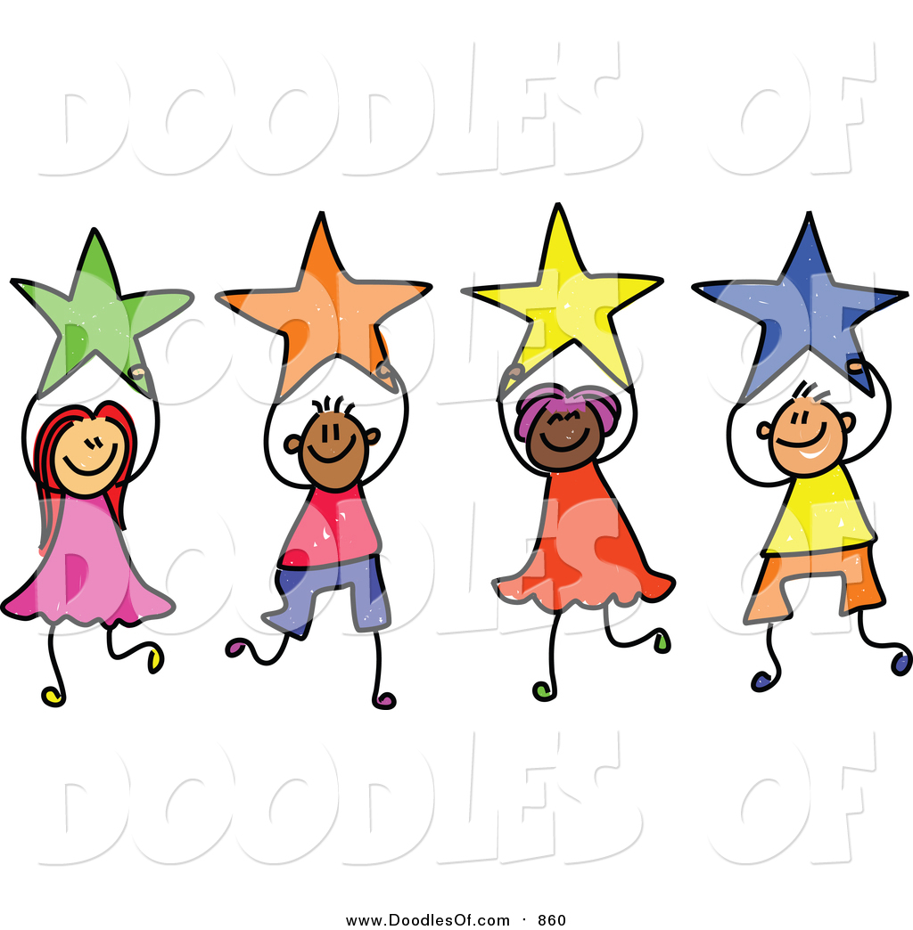 Vector clipart of a doodled group of kids holding stars by for Images of stars for kids