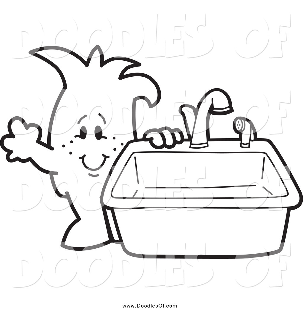 Vector Clipart of a Doodled Squiggle Guy Standing by a Kitchen ... for Kitchen Sink Clipart Black And White  300lyp