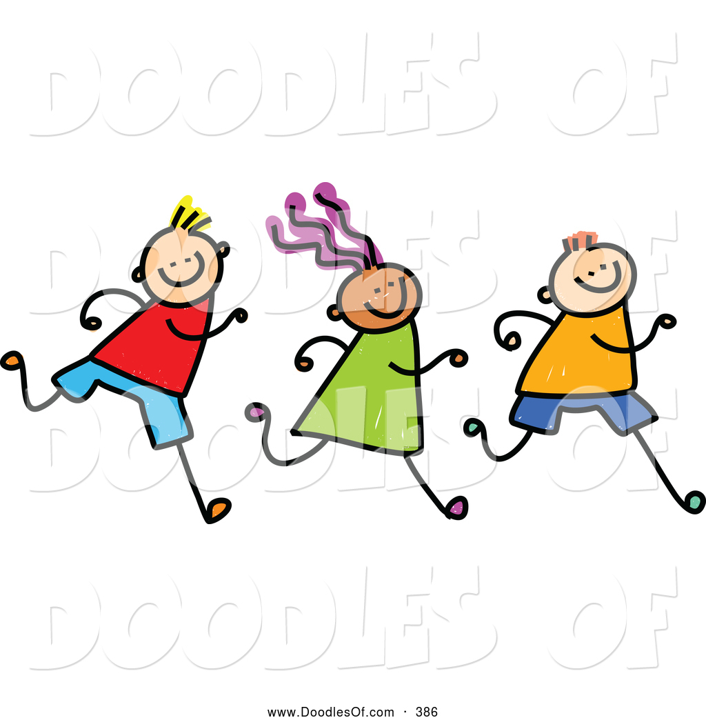 Vector Clipart of a Row of Three Running Kids on White by ...