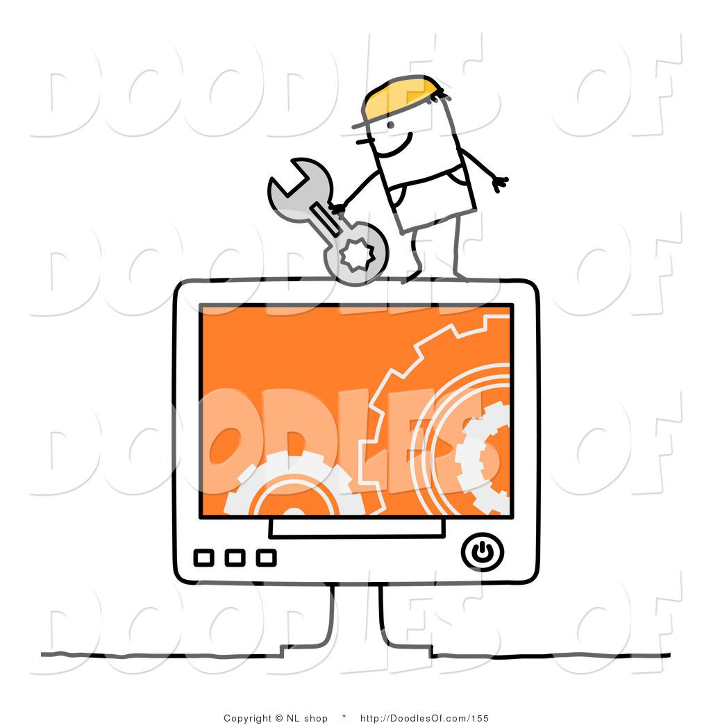 Vector Clipart of a Stick Figure Person Man Computer Repair ...