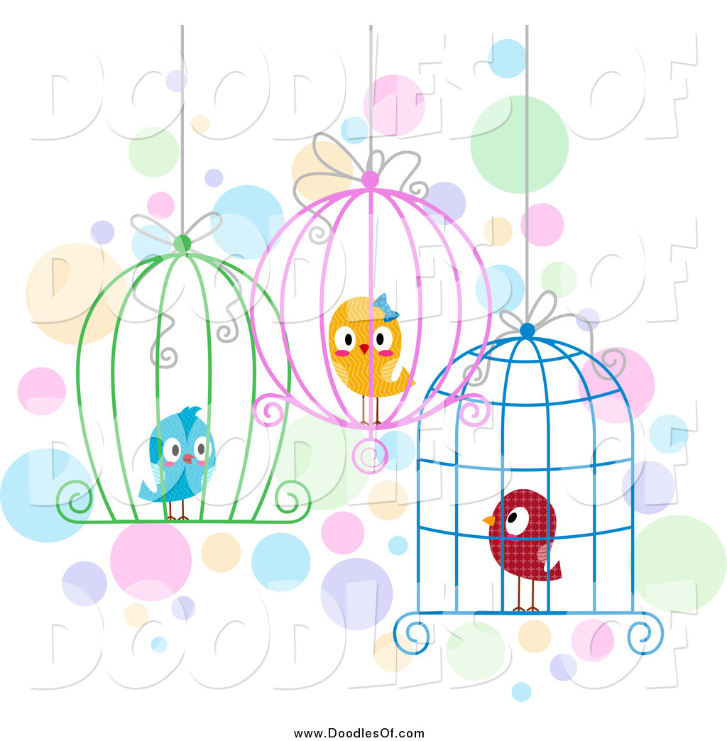 Vector Clipart Of Doodled Love Birds In Wire Cages By Bnp Design Studio 1005
