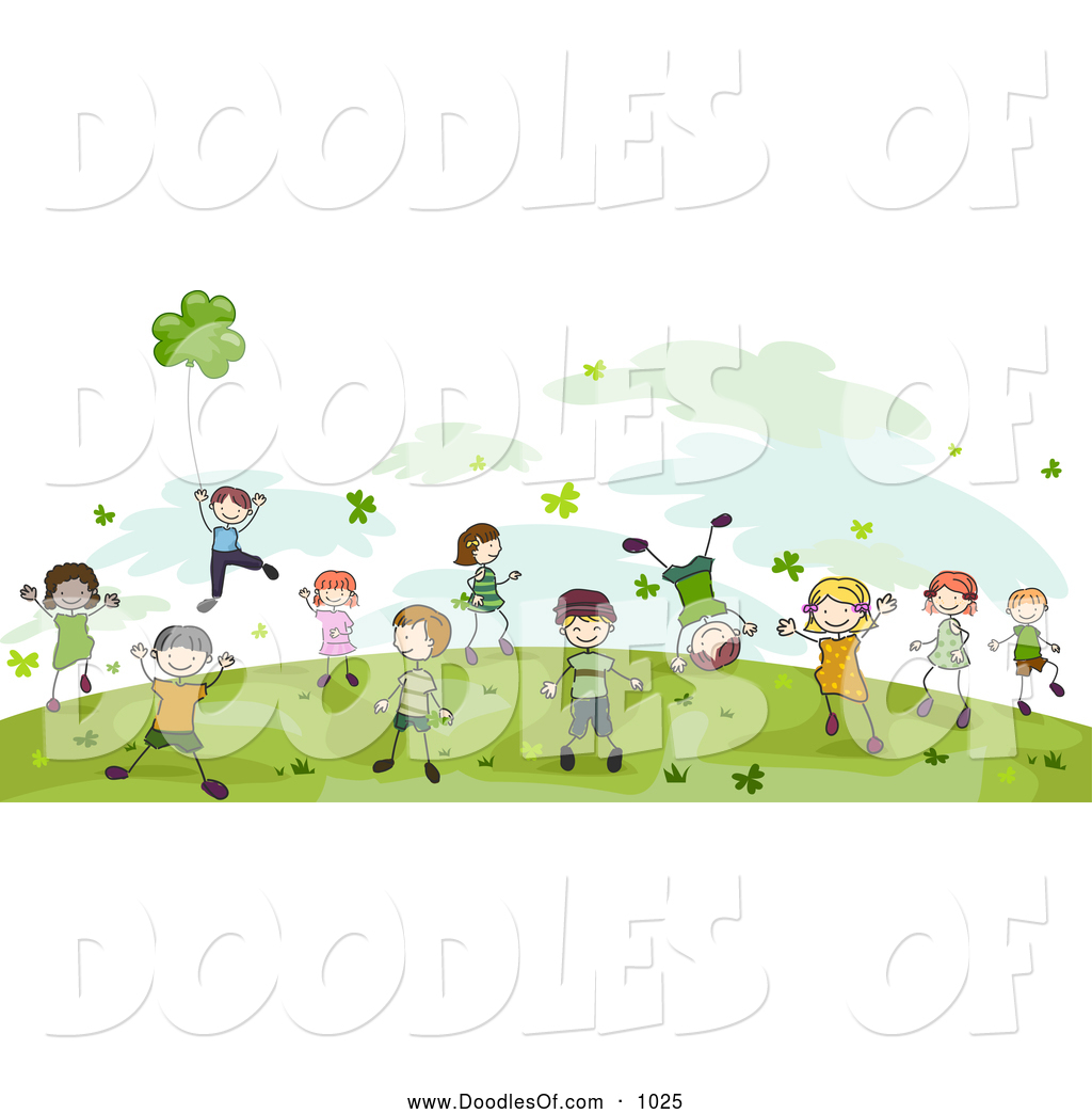 vector clipart of doodled st patricks day children playing by bnp