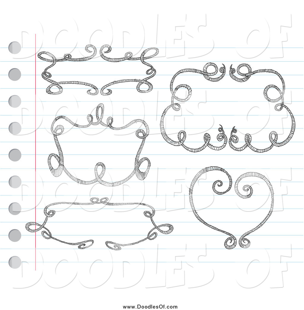 Vector Clipart of Sketched Doodle Frames on Paper by ...