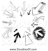 Clipart of a Cicle of Arrow Doodles Pointing in by Arena Creative