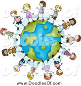 Clipart of a Doodle of Happy Stick Kids Playing on a Globe by BNP Design Studio