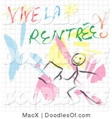 Clipart of a Doodled Man with Vive La Rentree Text by MacX