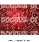 August 10th, 2014: Clipart of a Pink Doodle Words on a Red Happy New Year Background by NL Shop
