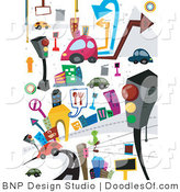 Doodle of Car and Urban Transportation Items by BNP Design Studio