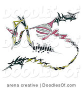 Doodle of Green Black and Pink Abstract Tribal Design by Arena Creative