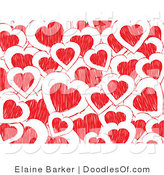 Vector Clipart of a Background of White and Red Doodled Valentine Hearts by Elaineitalia