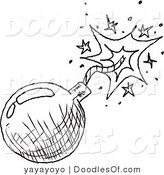 Vector Clipart of a Black and White Bomb Doodle Sketch on White by Yayayoyo