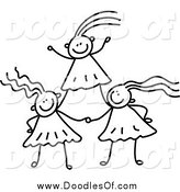 Vector Clipart of a Black and White Doodle of Girls Forming a Pyramid by Prawny