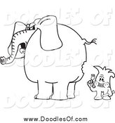 Vector Clipart of a Black and White Doodle Squiggle Guy so Hungry Hes Eating an Elephant by Toons4Biz