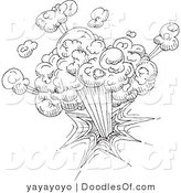 Vector Clipart of a Black and White Explosion Doodle Sketch on White by Yayayoyo
