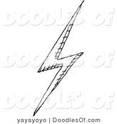 Vector Clipart of a Black and White Lightning Bolt Doodle Sketch on White by Yayayoyo