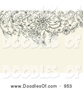 Vector Clipart of a Black Floral Doodle Border on a Tan Background by Yayayoyo