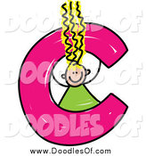 Vector Clipart of a Blond Doodle Girl in a Lowercase Letter C by Prawny