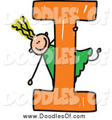 Vector Clipart of a Blond Doodled Girl Playing on Capital Letter I by Prawny