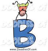 Vector Clipart of a Boy Doing a Hand Stand on a Capital Letter B by Prawny