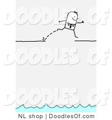Vector Clipart of a Brave Stick Person Business Man Leaping over a Broken Ledge Above Water by NL Shop