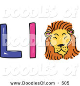 Vector Clipart of a Capital and Lowercase Alphabet Letter L with a Lion by Prawny