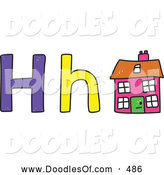 Vector Clipart of a Capital and Lowercase Letter H with a Child's Coloring of a House by Prawny