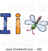 Vector Clipart of a Capital and Lowercase Letter I with an Insect on White by Prawny