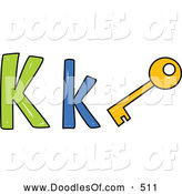Vector Clipart of a Capital and Lowercase Letter K with a Key, on White by Prawny