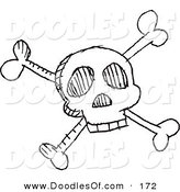 Vector Clipart of a Cartoon Black and White Skull and Crossbones Doodle SketchCartoon Black and White Skull and Crossbones Doodle Sketch by Yayayoyo