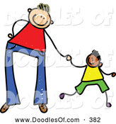 Vector Clipart of a Cartoon of a Father Holding Hands with His Son by Prawny