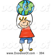 Vector Clipart of a Cheerful Boy Holding up a Globe Ball by Prawny
