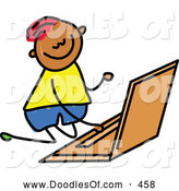 Vector Clipart of a Cheerful Boy Using a Laptop by Prawny