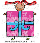Vector Clipart of a Cheerful Girl with a Present Body by Prawny