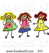 Vector Clipart of a Childls Sketch of Three Girls Playing Together, on White by Prawny