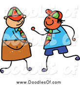 July 13th, 2014: Vector Clipart of a Childs Doodle of Two School Boys by Prawny