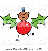 Vector Clipart of a Child's Drawing of a Boy with a Holly Body by Prawny