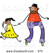 Vector Clipart of a Childs Drawing of a Father Holding Hands with His Daughter by Prawny