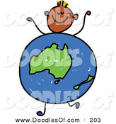 Vector Clipart of a Childs Sketch of a Black Boy with an Australian Globe Body by Prawny